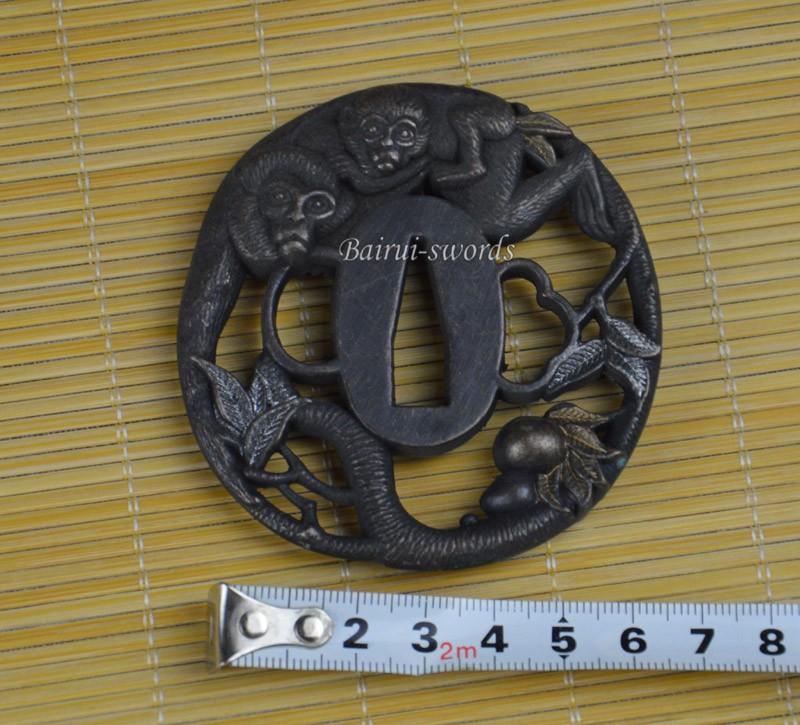 New Japanese Katana Tsuba Samurai Sword Whirlwind Alloy Monkey Guard Japanese Sword Fittings