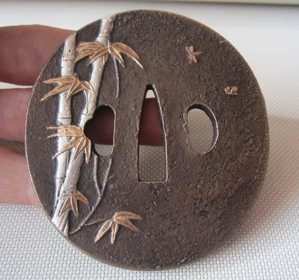 Tsuba/Bamboo Leaf Inlay/Solid Copper Japanese Samurai Sword Katana
