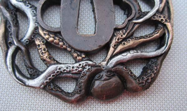 Tsuba/Octopus Cuttlef Exquisite,Copper Brass,Japanese Samurai Sword