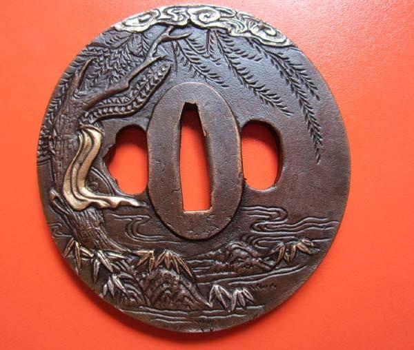 Tsuba People,Solid Copper,Carved Japanese Samurai Sword