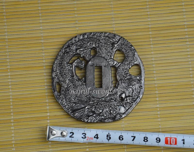 New Japanese Katana Tsuba Samurai Sword Alloy Silver Dragon Guard Japanese Sword Fittings