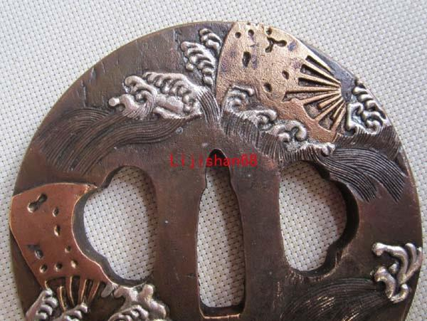 Rare Top Signed Tsuba/Inlay Copper Japanese Samurai Sword Katana