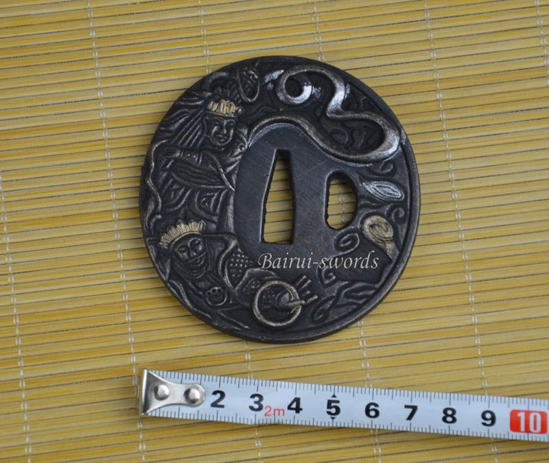 Buddhist God Carved Tsuba Guard For Japanese Katana Samurai Sword