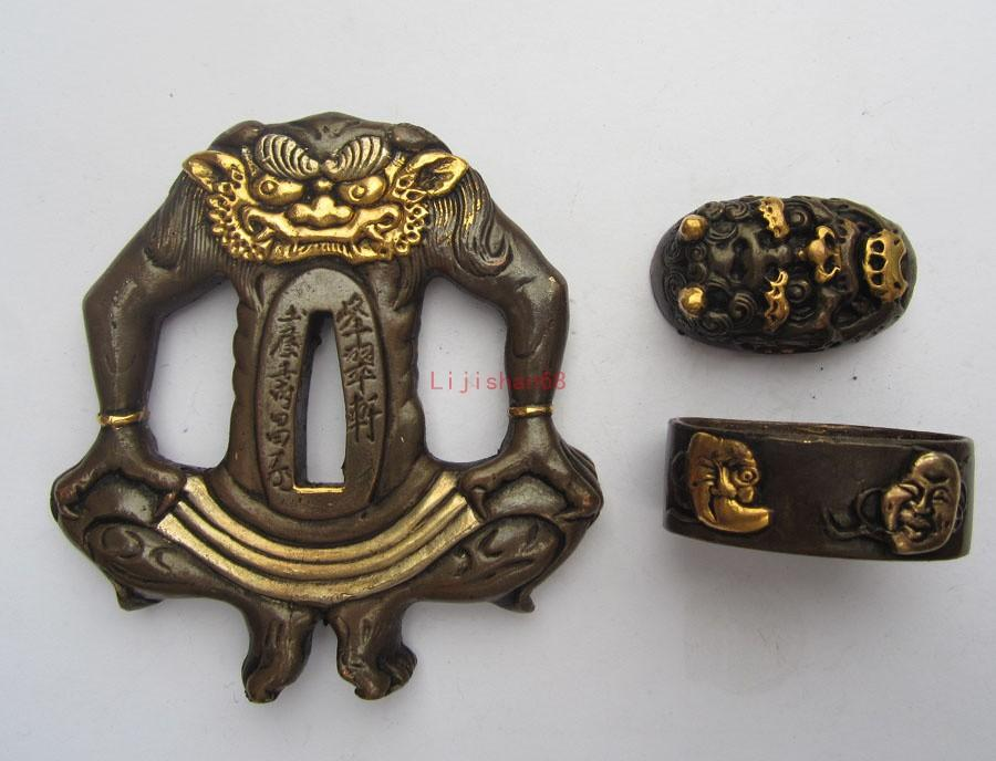 Copper/Japan Samurai Sword Katana Fitting-Tsuba+Fuchi+Kashira+Menuki