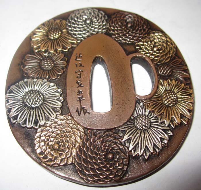 Exquisite Tsuba Flower,Solid Copper Japanese Samurai Sword