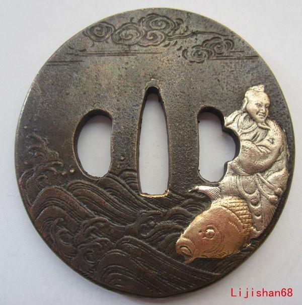 Exquisite Tsuba/Fish,Exquisite,100%Copper,Brass,Japanese Samurai Sword