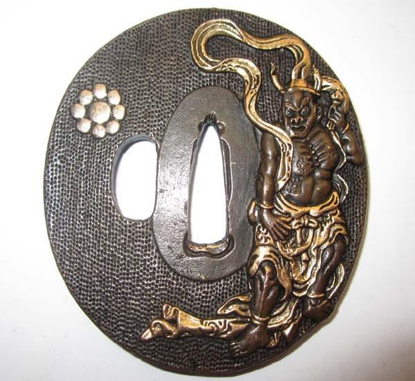 Rare Top Tsuba/Buddha,Solid Copper Japanese Samurai Sword